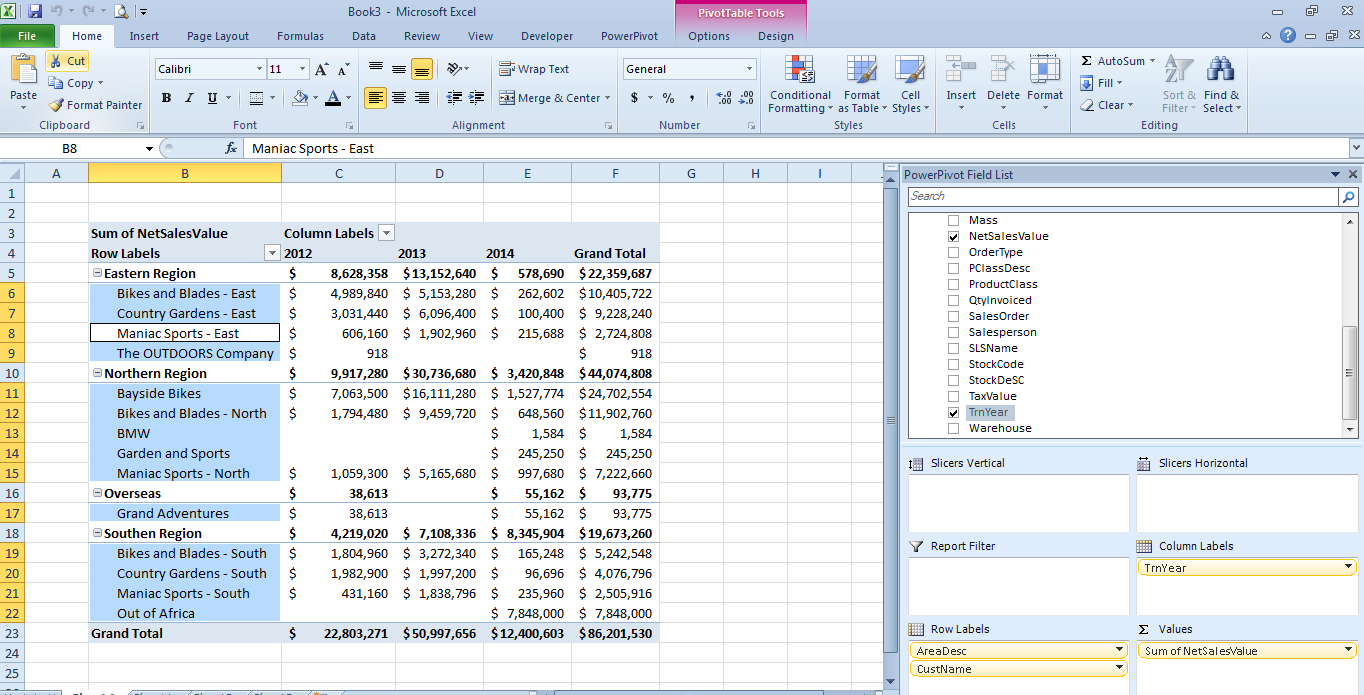 how to create tabular view in excel